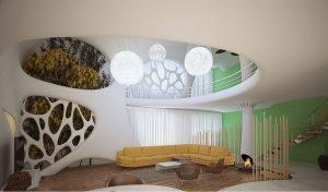 طراحی داخلی ویلا دوبلکس با پاسیو و معماری پارامتریک