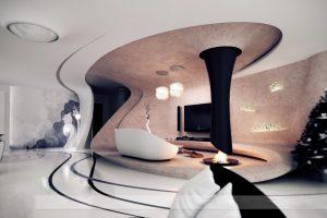 طراحی داخلی منزل مسکونی با شومینه معلق و معماری پارامتریک